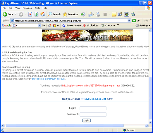 Download from Rapidshare with Free Download Manager